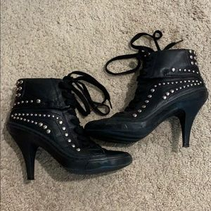 Leather shoe with silver studs & rubber heels